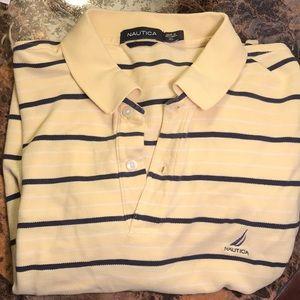 Nautica polo shirt men's XL yellow stripes blue